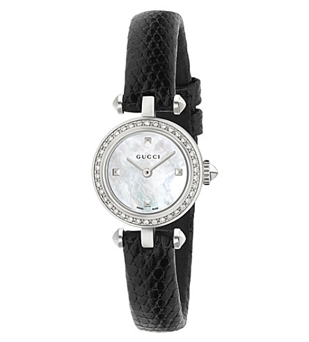 GUCCI Diamantissima mother-of-pearl, silver and leather watch