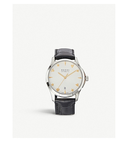 GUCCI G-timeless silver and leather watch