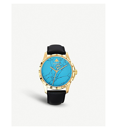 GUCCI G-timeless yellow-gold PVD and leather watch