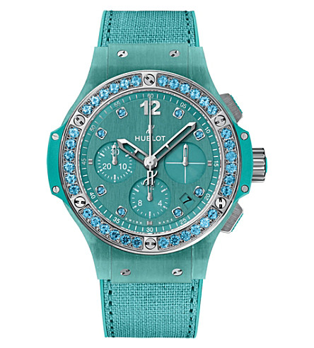 HUBLOT 341.XL.2770.NR.1237 Big bang turquoise linen watch