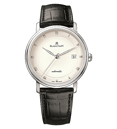BLANCPAIN 6223-1543-55A Villeret alligator-leather and stainless steel watch