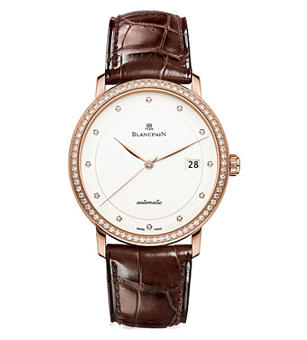 BLANCPAIN 6223298755B 18ct rose-gold and alligator-leather watch