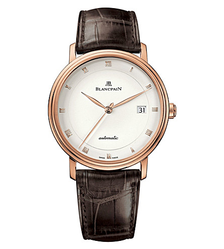 BLANCPAIN 6223364255 18ct rose-gold and alligator-leather watch