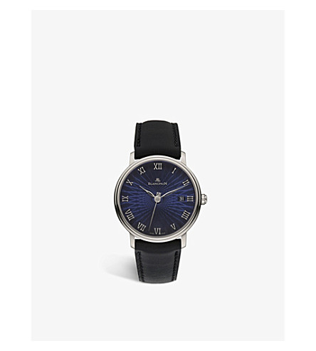 BLANCPAIN 6223c-1529-55a Villeret 18ct white gold and leather strap watch