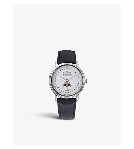 BLANCPAIN 6263-1127-55 leather and stainless steel watch