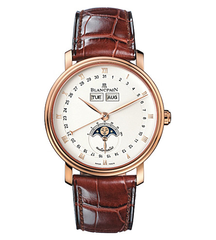 BLANCPAIN 6263-3642-55 Villeret 18ct rose-gold and alligator-leather watch