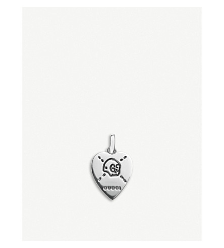 GUCCI GucciGhost sterling silver heart pendant