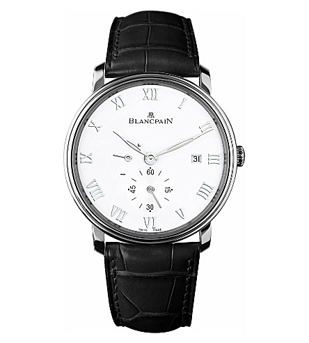 BLANCPAIN 6606112755B leather and stainless steel watch