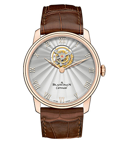 BLANCPAIN 66228-3642-55B Villeret Flying Carrousel 18ct rose-gold and alligator-leather watch