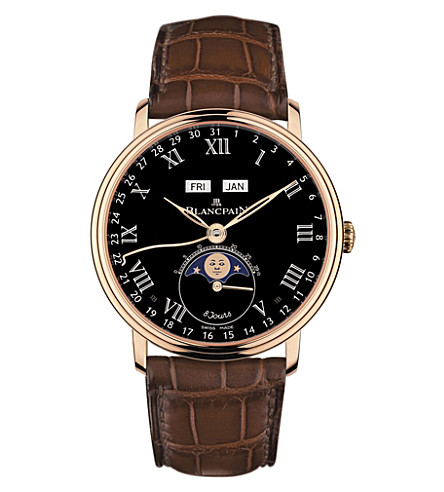 BLANCPAIN 6639-3637-55B Villeret 18ct rose-gold and alligator-leather watch