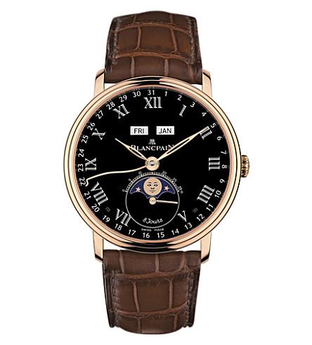 宝珀 6639-3637-55B Villeret 18k 玫瑰金和鳄鱼皮革手表
