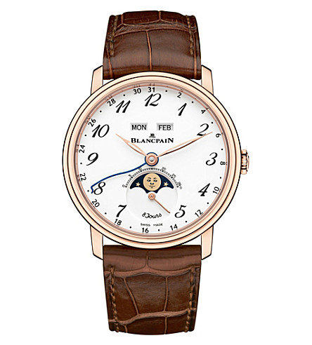 BLANCPAIN 6639A363155B 18ct rose gold and leather watch