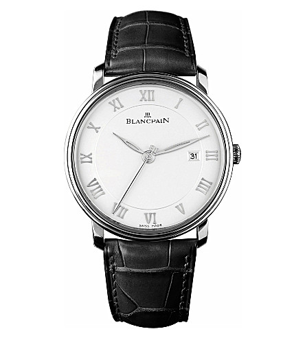BLANCPAIN 6651112755B leather and stainless steel watch