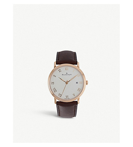 BLANCPAIN 6651364255B 18ct rose gold and leather watch
