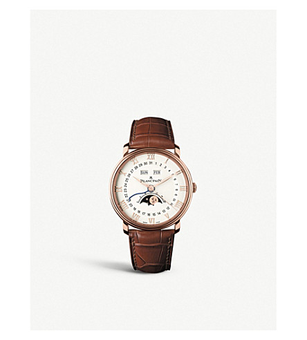 BLANCPAIN 6654364255B 18ct rose gold and leather watch
