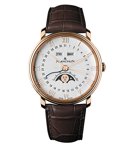 BLANCPAIN 6664364255B 18ct rose gold and leather watch