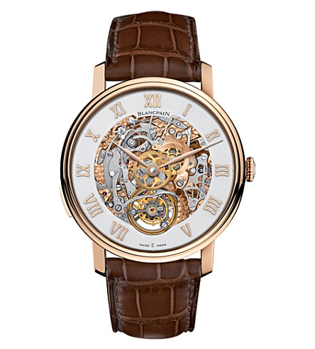 BLANCPAIN Le Brassus 18ct rose-gold and alligator-leather minute repeater watch