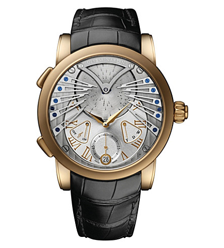 ULYSSE NARDIN Classic stranger 18 carat rose-gold and alligator watch