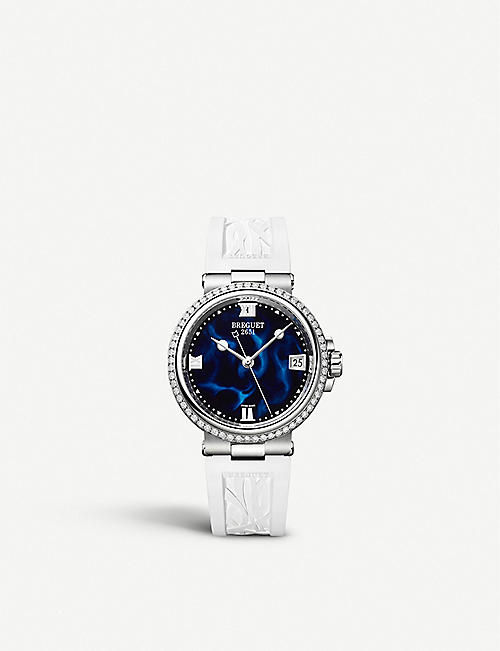 BREGUET 9518BR/52/584/D000 海洋母不锈钢,0.846ct 钻石和漆石英腕表