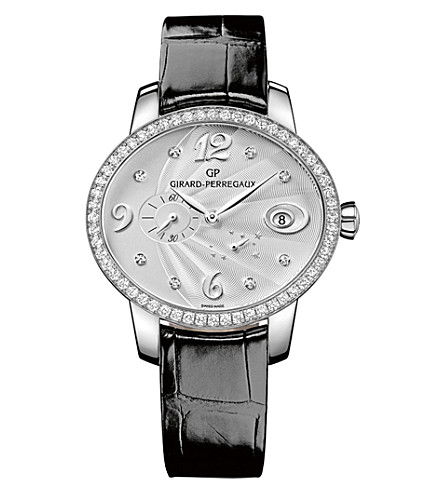 GIRARD-PERREGAUX 80486D11A161-CK6A Cat's Eye alligator-leather, stainless steel and diamond watch
