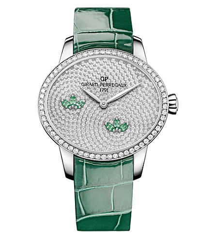 GIRARD-PERREGAUX 80489D53A1B3-CKAA Cat's Eye Water Lily diamond and alligator leather watch