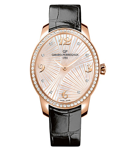GIRARD-PERREGAUX 80493D52A763-CK6A Cat's Eye alligator-leather, 18ct rose-gold and diamond watch