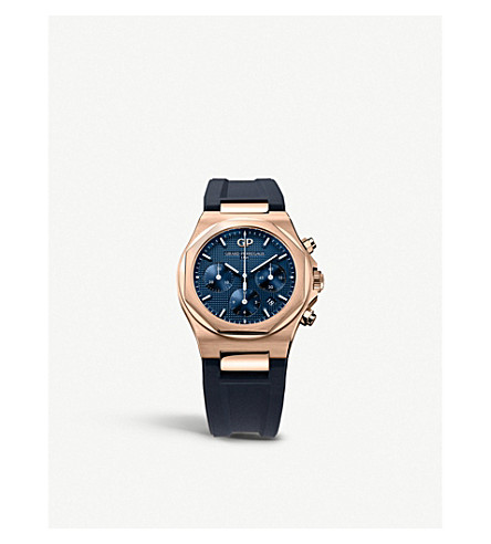 GIRARD-PERREGAUX 81020-52-432-bb4a Laureato 18ct rose-gold and alligator leather bracelet chronograph watch (Rose+gold