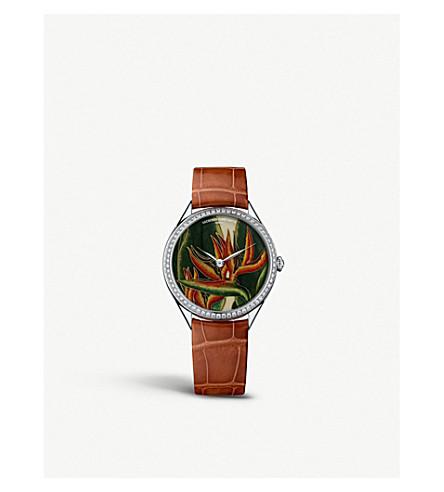 VACHERON CONSTANTIN 82550/000G-9854 Metiers D'art Florilege white-gold, diamond and leather strap watch