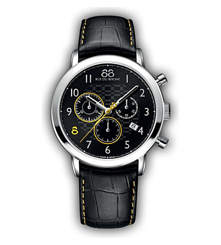 88 RUE DU RHONE 87WA140028 Double 8 Origin stainless steel and leather watch (Black