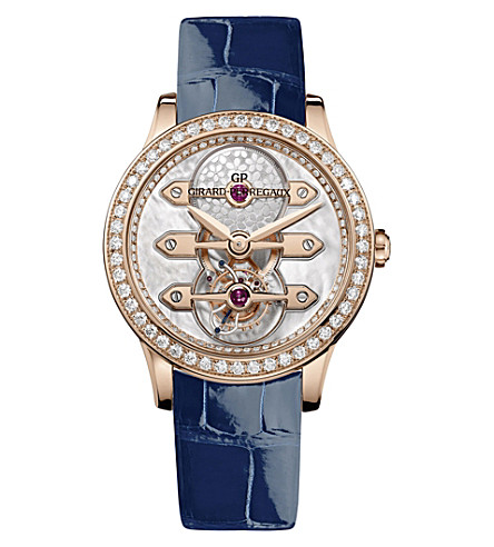 GIRARD-PERREGAUX 99240D52A701-CK7A Bridges Tourbillon 18ct pink gold and alligator leather watch