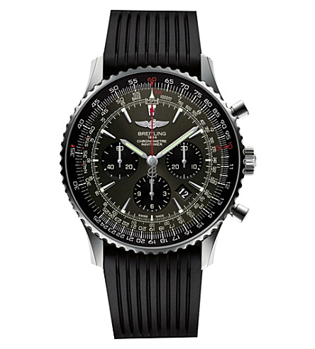 BREITLING AB01271A/F570.760P Navitimer 01 stratos stainless steel amd rubber chronograph watch