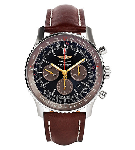 BREITLING AB0127E3-BE81443X Navitimer automatic stainless steel and leather watch