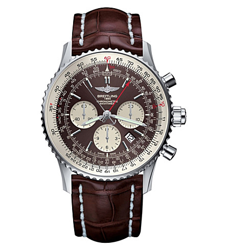 BREITLING AB031021/Q615/756P Navitimer Rattrapante stainless steel and leather chronograph watch