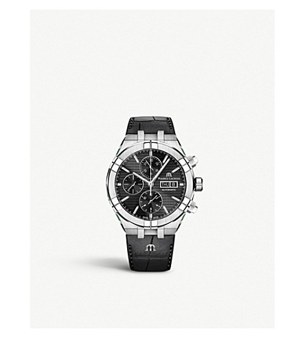 MAURICE LACROIX AI6038-SS001-330-1 Aikon stainless steel and leather chronograph watch