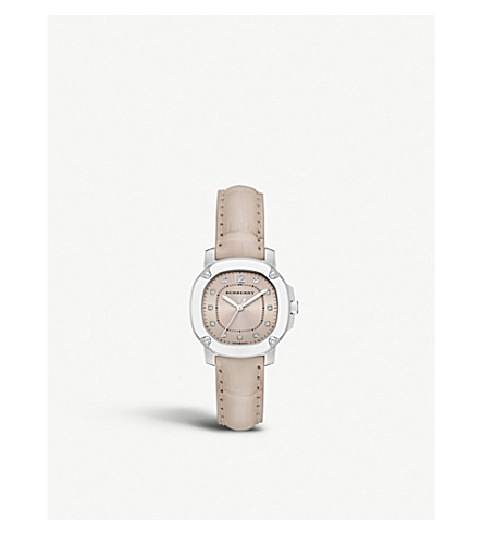 BURBERRY BBY1802 The Britain diamond, stainless steel and leather watch (Nude+sunray