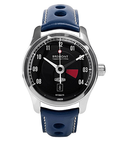 BREMONT BJ-III/BK Jaguar MKIII stainless steel and leather watch