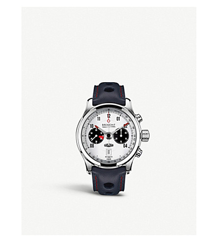 BREMONT BJ-II/WH Jaguar MKII chronograph steel and leather watch