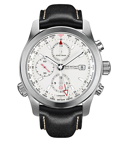 BREMONT BKM-SS Kingsman Special Edition stainless steel and leather watch (White