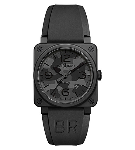 BELL & ROSS BR0392 Camo PVD coated and rubber watch