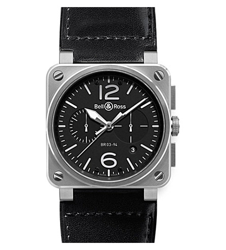BELL & ROSS BR0394-BL-SI/SCA Aviation steel and leather watch (Black
