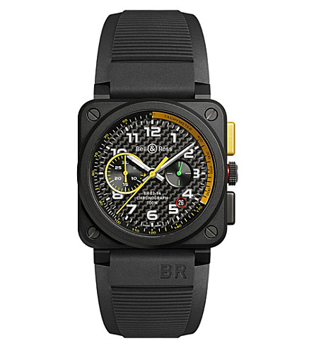 BELL & ROSS BR0394-RS17 ceramic and rubber chronograph watch