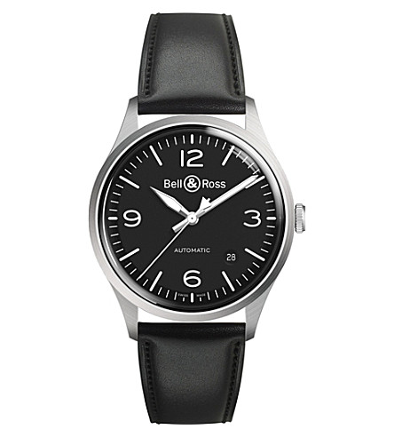 BELL & ROSS BRV192-BL-ST/SCA Vintage auto black dial leather strap