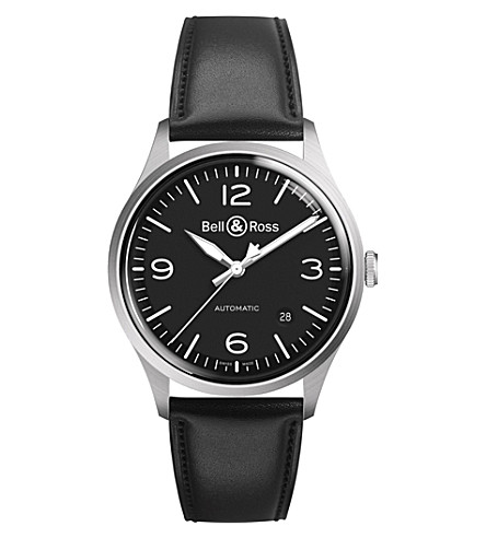 BELL & ROSS BRV192-BT-ST/SCA Bellytanker leather and stainless steel watch