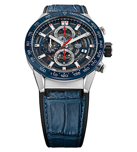 TAG HEUER CAR201TFC6406 Carrera automatic stainless steel watch with alligator strap