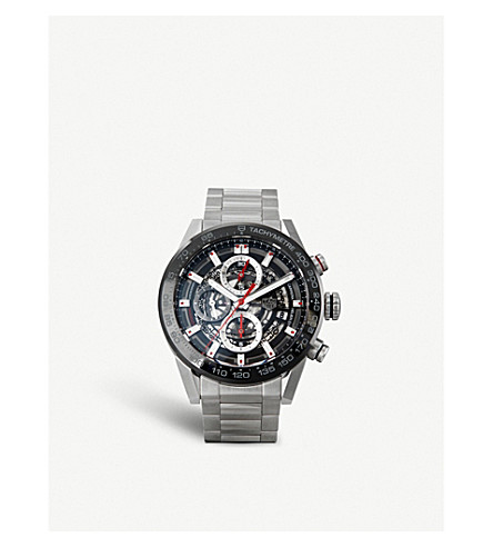 TAG HEUER CAR201V.BA0766 Carrera stainless steel and ceramic chronograph watch