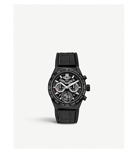 TAG HEUER CAR5A90FC6415 CARRERA 02T 飞轮陶瓷和皮革表带手表