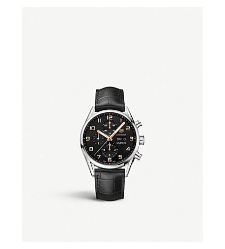 TAG HEUER CV2A1ABFC6379 CARRERA 不锈钢和真皮计时腕表