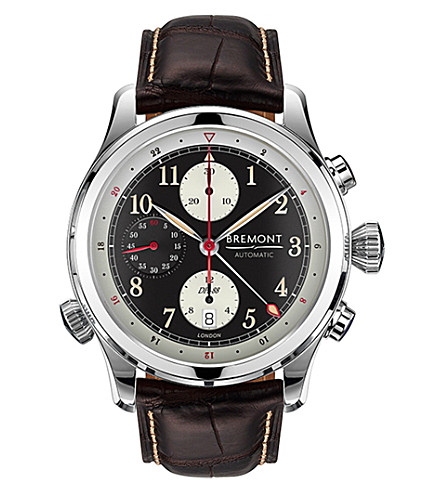 BREMONT DH-88/SS stainless steel and alligator leather watch