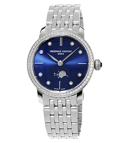 FREDERIQUE CONSTANT Fc-206nd1sd26b Slimline Moonphase stainless steel watch (Blue