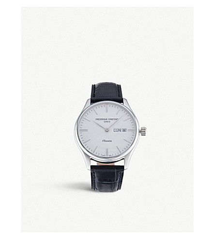FREDERIQUE CONSTANT 225ST5B6 Classics quartz index stainless steel and leather strap watch